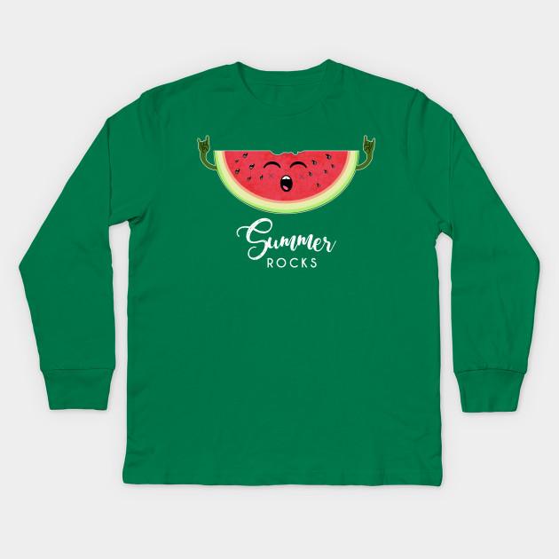468837a91a6 Summer rocks - Funny Watermelon Rock Hand Festival T Shirt Kids Long Sleeve  T-Shirt