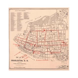 Vintage Map of Charleston South Carolina (1890) T-Shirt