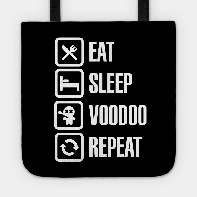 Eat sleep voodoo repeat black magic voodoo doll (white)
