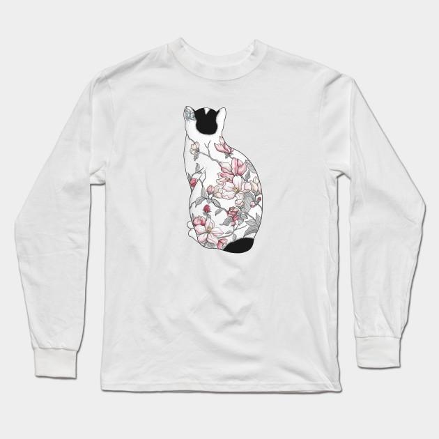 f85cd659c Cat in Apple Blossom Tattoo - Cat - Long Sleeve T-Shirt