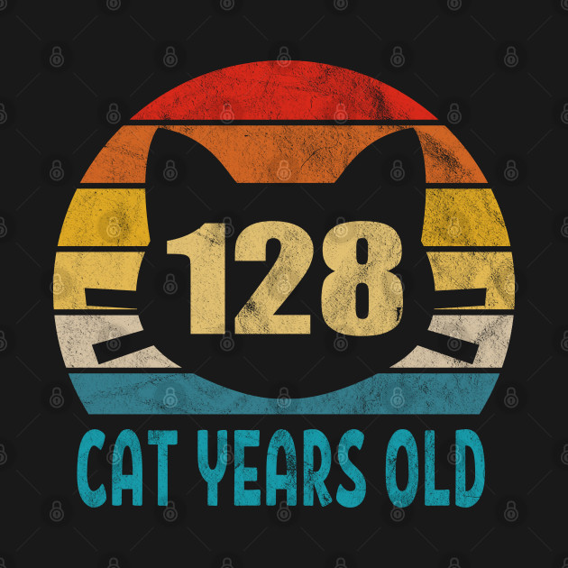 128 Cat Years Old Retro Style 28th Birthday Gift Cat Lovers