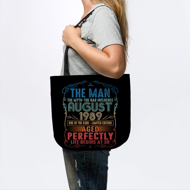 Made In 1989 30th Birthday Age 30 Bag For Life Shopping Tote Bag ladies Gift
