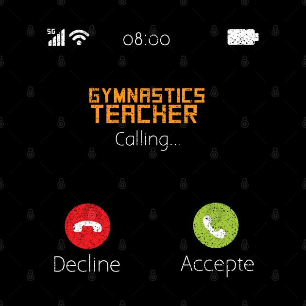 Gymnastics teacher calling vintage phone funny