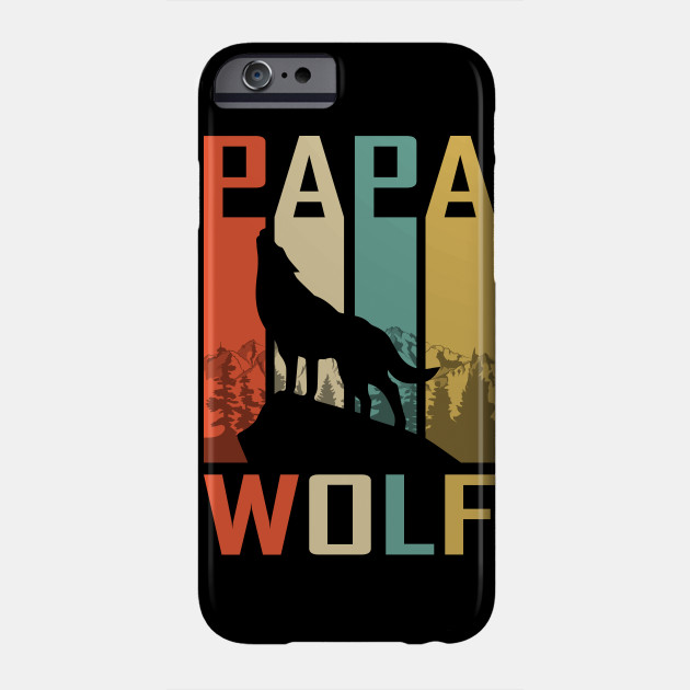Retro Vintage Papa Wolf Fathers Day Gift Phone Case