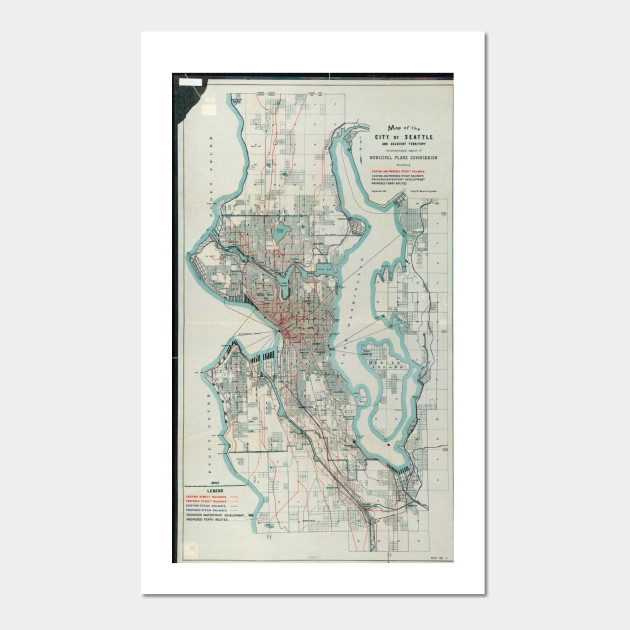 Vintage Map of Seattle Washington (1911) - Seattle Map - Posters and ...