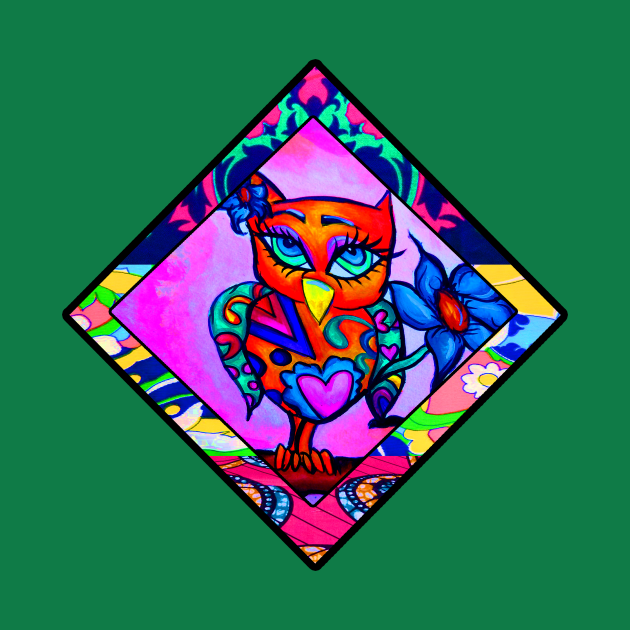 Cute Orange Owl Retro Diamond