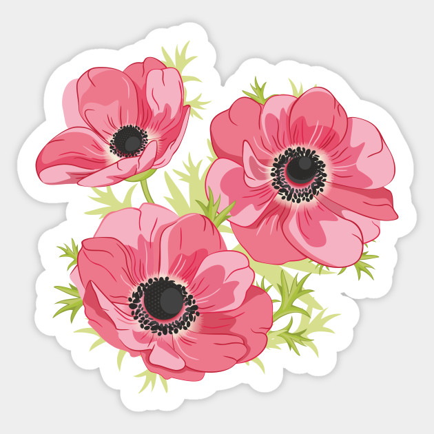 Pink anemones flowers sticker teepublic 2376881 0 mightylinksfo