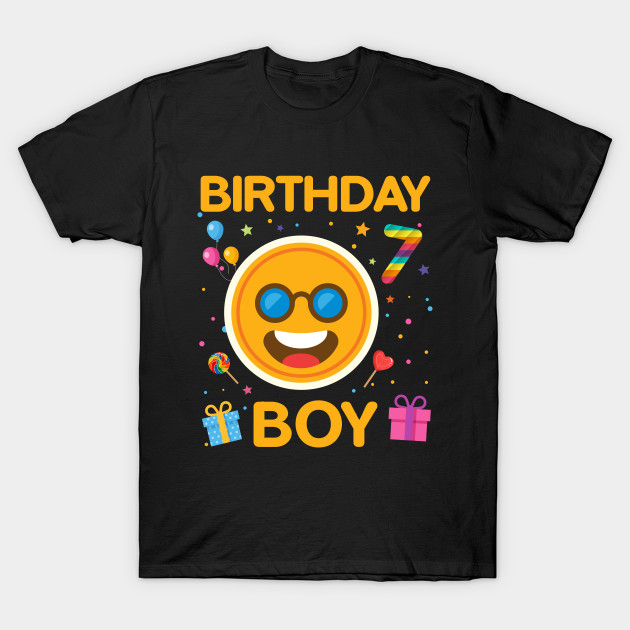 Kids Emoji 7th Birthday Boy T Shirt Fun 7 Years Old Gift