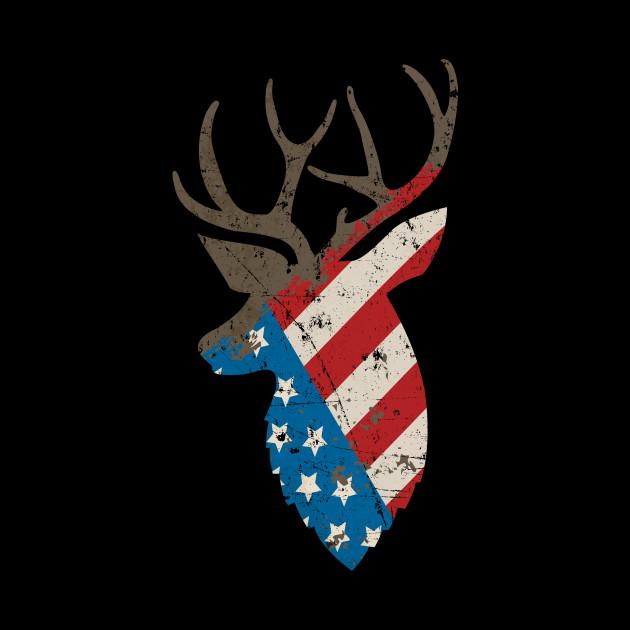 4aab49934ba97 Hunting Deer Skull Flag T Shirt Hunters - Hunting Deer Skull Flag ...