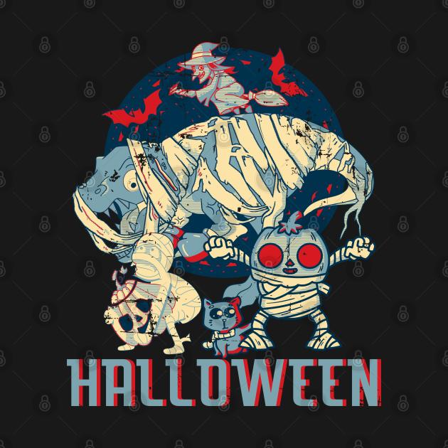 Retro Dinosaur Mummy Pumpkin Cat Witch Halloween Crew Party