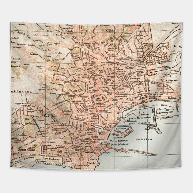Vintage Map of Naples Italy (1897) - Naples Italy Map - Tapestry ...