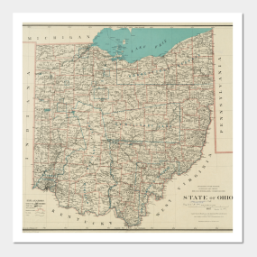 Antique Ohio Map.Antique Ohio Map Posters And Art Prints Teepublic