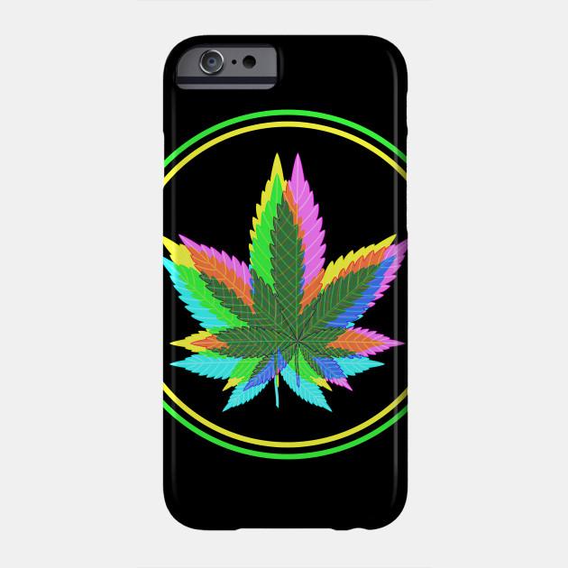 Marijuana Weed Leaves Psychedelic Neon Colored 3 Marijuana