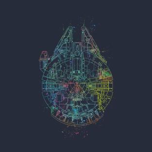 Millenium Falcon Painted Schematic t-shirts
