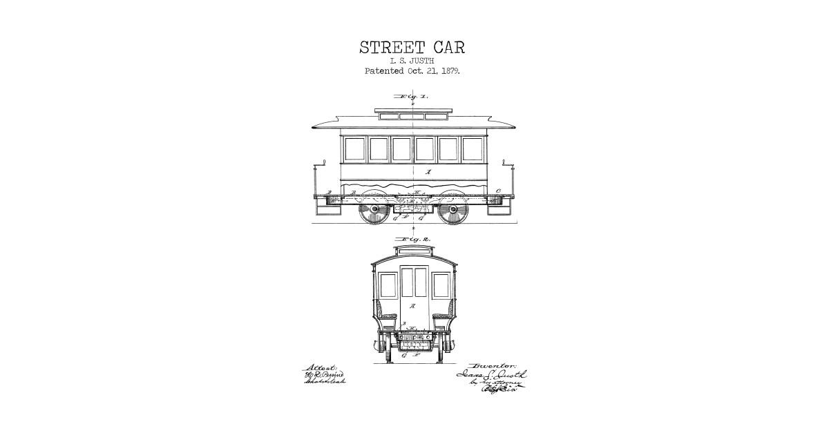 STREET CAR poster, street car patent print, street car blueprint, tram  print, trolley printable, railway decor, transportation decor, by printpoint