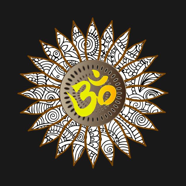 Sunflower Doodle Om Yoga Symbol Sunflower Long Sleeve T Shirt
