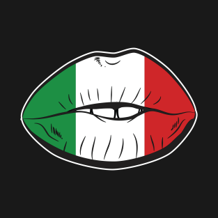 a4368032 Italy Fan Lips Italian Fan Flag Lips T-Shirt