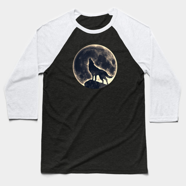 Howling Wolf, Full Moon Baseball T-Shirt