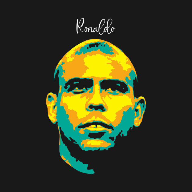 Ronaldo Pop Art. brazilian footballer. Ronaldo Luis Nazario de Lima. legend soccer player.