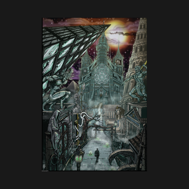 The lost city of R,lyeh the graveyard of the gods.