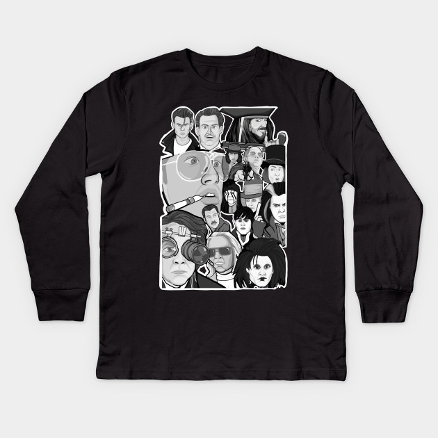 Johnny Depp Character Collage Movies Kids Long Sleeve T Shirt