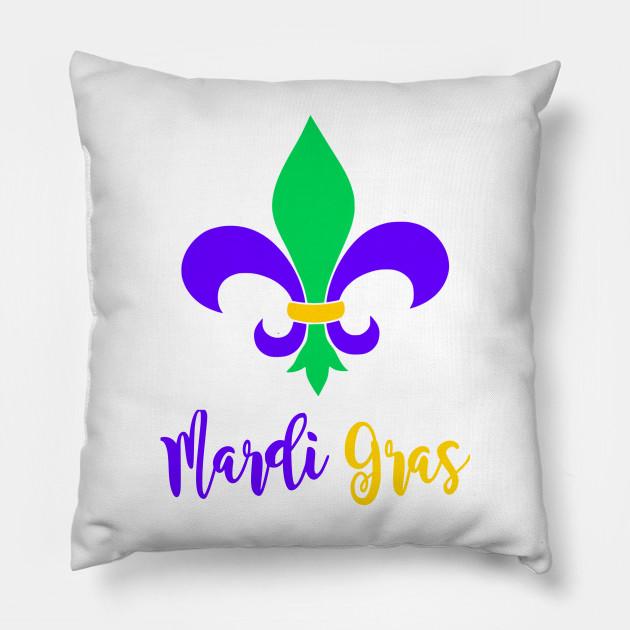 Fun Mardi Gras Fleur De Lis Mardi Gras Pillow Teepublic