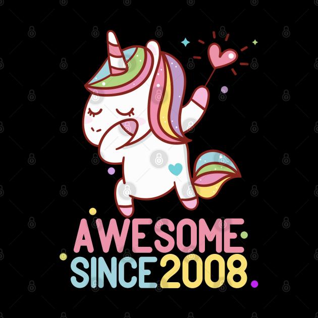 Awesome Since 2008 Dabbing Unicorn 12th Birthday Gift