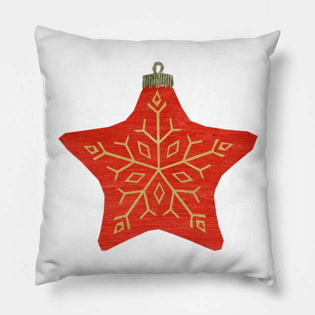 Bauble - Trad red star snowflake