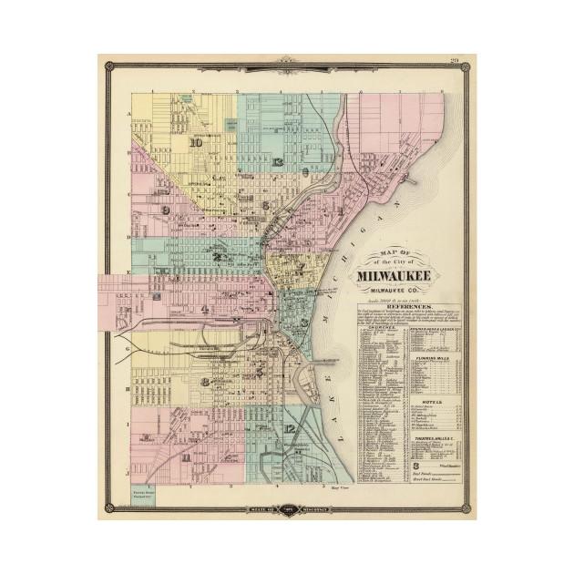 Vintage Map Of Milwaukee Wisconsin Milwaukee Map TShirt - Vintage milwaukee map