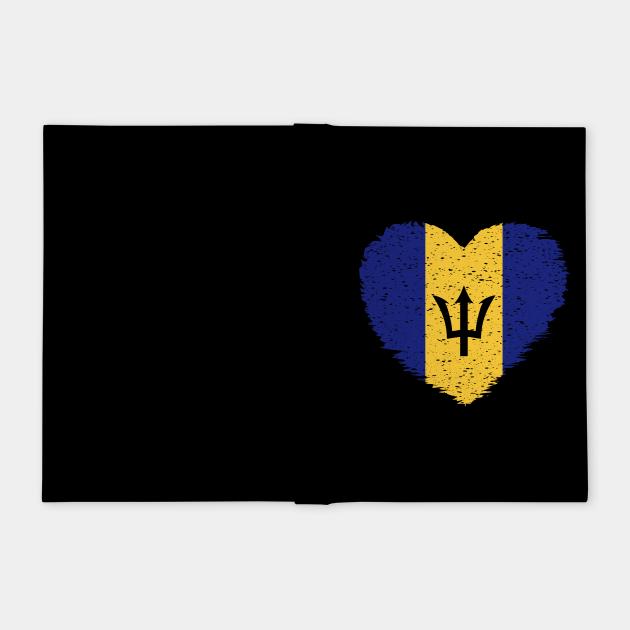 Barbados Grunge Distress Heart Flag Design
