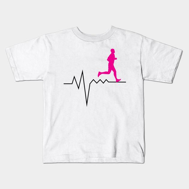 Heartbeat Pulse Funny Running Runner Gifts Kids T Shirt