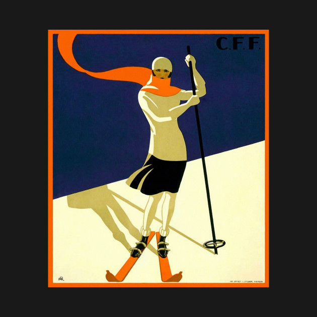Vintage Swiss Alps Ski art