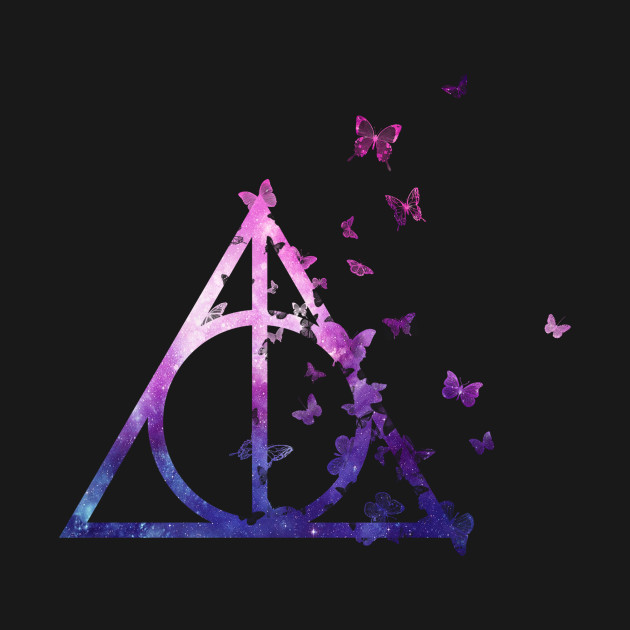 Harry potter deathly hallows galaxy butterfly pink blue for Galaxy wand