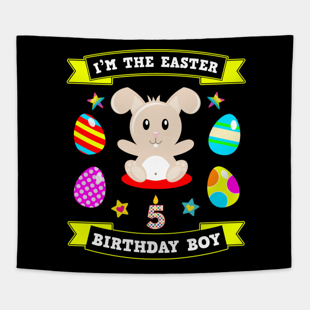 5 Year Old Easter Bunny 5th Birthday Boy 2019 Gift Tapestry