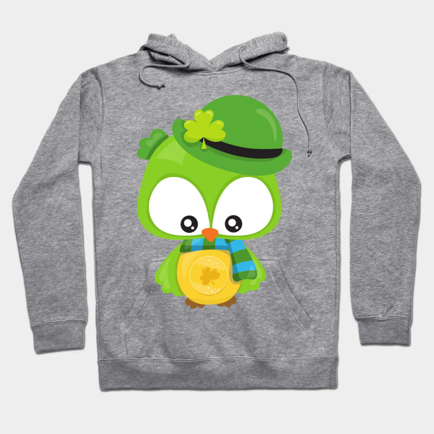 Saint Patrick's Day Owl, Green Owl, Clovers Hoodie