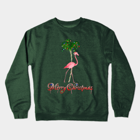 9b9515385be1c Pink Flamingo Beach Merry Christmas Crewneck Sweatshirt