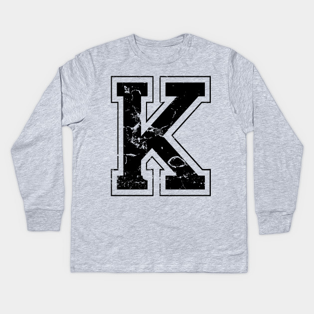 Initial Letter K Black Jersey Sports Athletic Player
