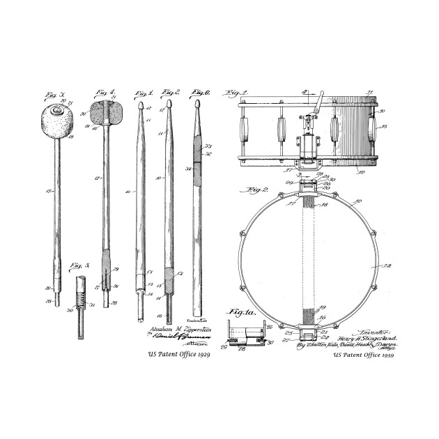 Drumsticks And Snare Drum Combo Vintage Patent Prints Drummer T