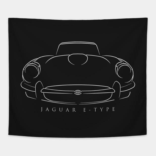 Jaguar E-Type - front stencil, white