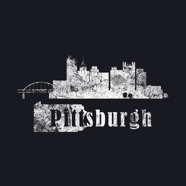 Pittsburgh silhouette, grunge