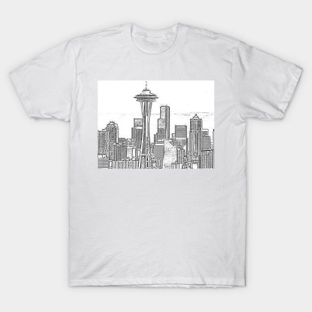 Minimalist Black and White Seattle Skyline T-Shirt Designed and Sold by Christine aka stine1