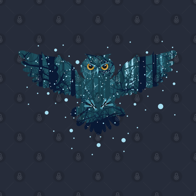 Winter forest owl