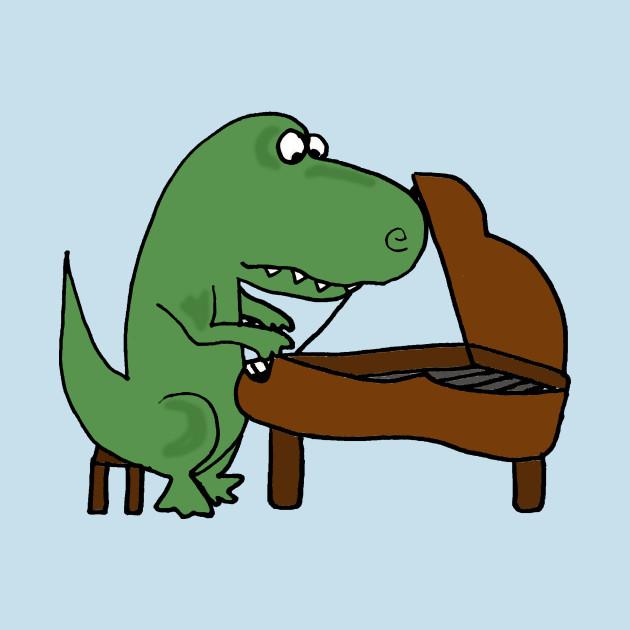 Cute Funny Green T-rex Dinosaur Playing Piano Cartoon ...