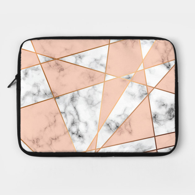Gray Marble Background With Pink Geometric Shapes Gray Marble Laptop Schutzhulle Teepublic De