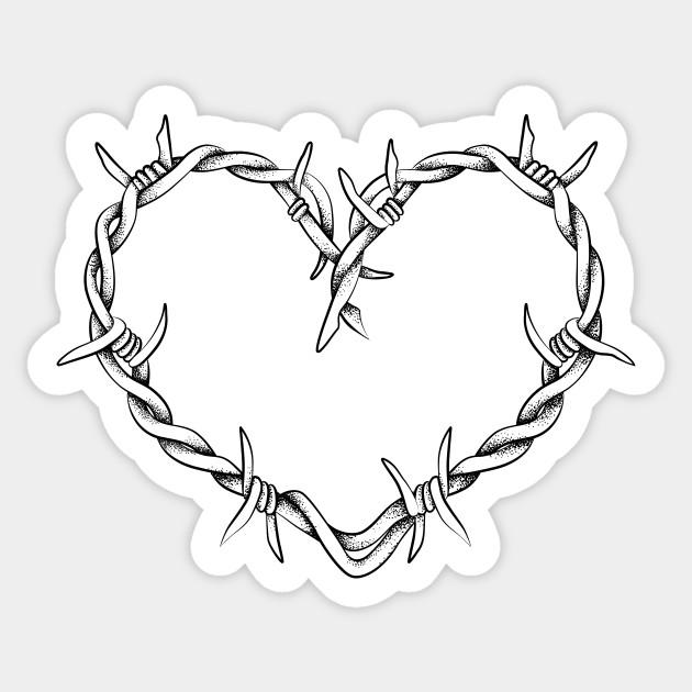 Heart shape of barbed wire - Heart - Sticker | TeePublic