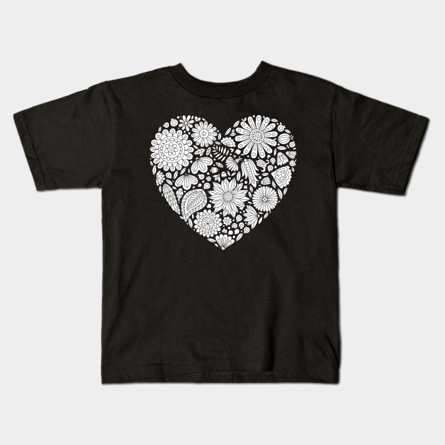 Flowers Heart Coloring Page Flourish And Bloom Flower Heart Kids T Shirt Teepublic
