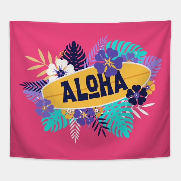 Aloha Hawaiian Surfboard With Hibiscus Flowers Aloha Tapestry