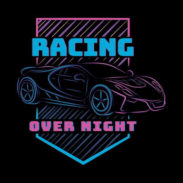racing car sports neon style line art