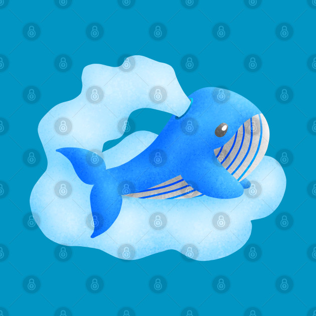 Blue whale blowing cloud.Flying with cloud.