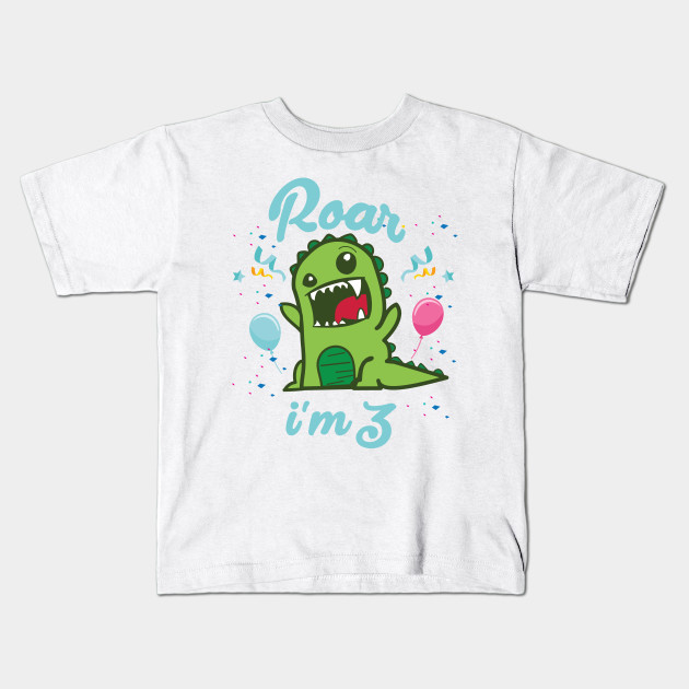 Roar Im 3 Kids Dinosaur Gift Shirt 3rd Birthday Year Old T